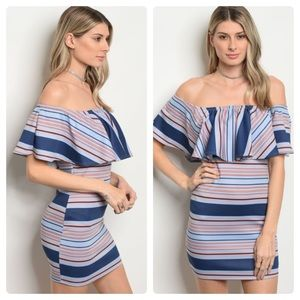 Dresses & Skirts - Off the shoulder striped bodycon